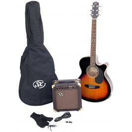 SX SA3 Electric Acoustic Kit Vintage Sunburst