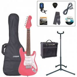Encore EBP-E375PK 3/4 Size Electric Guitar Outfit Pink