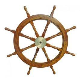 Sea-club Steering Wheel wood with brass center - o 90cm