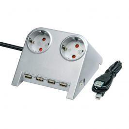 Desktop-Power Steckdosenleiste mit USB, silber