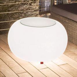 Bubble Outdoor Tisch, Licht weiß + Glasplatte