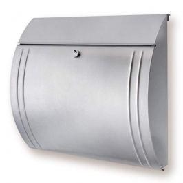 MODENA Stahl- Briefkasten in schöner Form, silber
