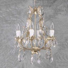 Vierflammiger Kronleuchter PISA silber, Glas