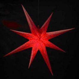 8-zackiger Stern Ganesha mit Glitterdesign - rot