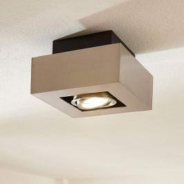 Quadratischer LED-Spot Vince, nickel satiniert