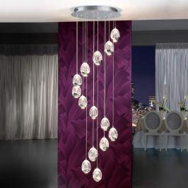Vierzehnflammige LED-Hängeleuchte Rocio, chrom