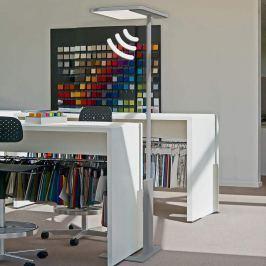 Elegante Büro-Stehlampe Linea-F m. Sensor - grau