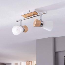 2-flammige Holz-Deckenlampe Vivica mit Glas
