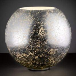 Silberfarbene Glas-Tischleuchte Fara in Kugelform