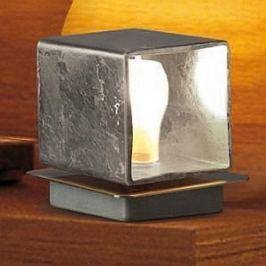 Quadratische Tischleuchte Cube m. Blattsilber