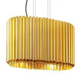 Goldfarbene Hängeleuchte Organo in ovaler Form