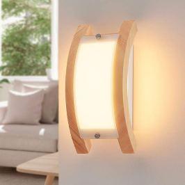 Gewölbte LED-Holz-Wandlampe Zuna, dimmbar