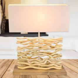 Jamie - eine Tischleuchte mit Holzfuß und Holzdeko