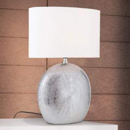 Keramik-Tischleuchte Ethno 52 cm weiß, Fuß titan