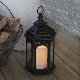 Amber LED-Laterne 33 cm, schwarz