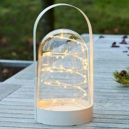 Weiße Deko-Laterne Arthur m. LED-Lichterkette