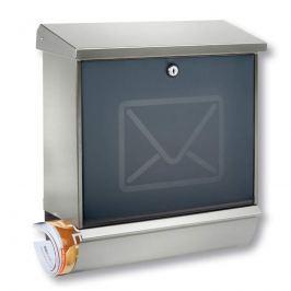 Edelstahl-Briefkasten Lucca mit Dekortür Brief