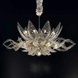 Goldener Kronleuchter Ninfea 125 cm, transparent