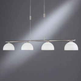 LED-Pendellampe Shine 4fl nickel Glasschirm weiß