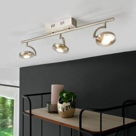 3-flammiger LED-Deckenstrahler Sirius in Nickel