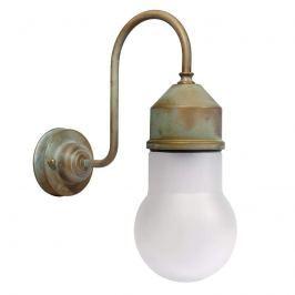 Wandlampe 1950N messing antik, Glas gewölbt, opal