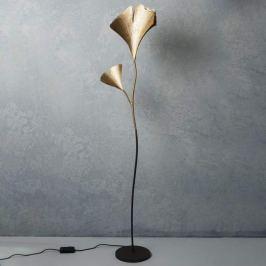 Goldene Designer-Stehlampe Ginkgo mit Dimmer