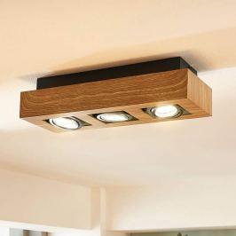 3-flammige LED-Deckenleuchte Vince in Holzton