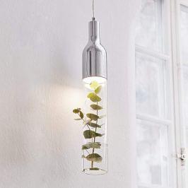 Dekorierbare Glas-Hängeleuchte Bottle m. LED-Licht