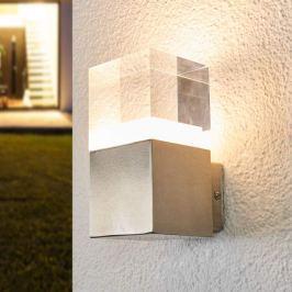 Kantige LED-Außenwandleuchte Nerius, Edelstahl