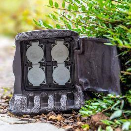 4-fach Energieverteiler Baumstumpf für außen