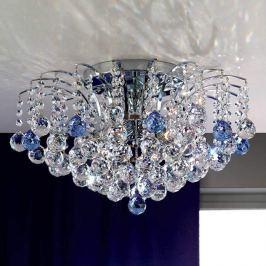 LENNARDA - Kristalldeckenleuchte blau/chrom