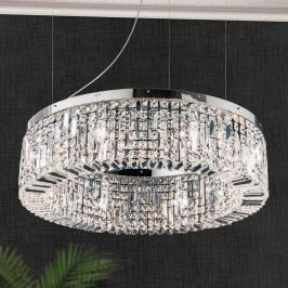 Funkelnde Kristall-Hängeleuchte Ring 80 cm chrom