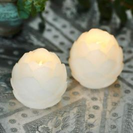 Hübsche Wachs-LED-Dekoleuchten Helene, weiß