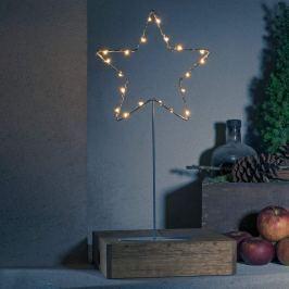 Stehender LED-Metallstern - silber mit Fuß