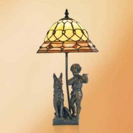 Hugo - Tischleuchte mit Resinfiguren, Tiffanystil