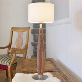 Textil-Hockerleuchte Paula mit Massivholz-Fuß