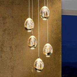 Goldfarbene LED-Hängeleuchte Rocio, 5-fl.