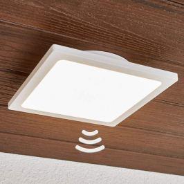 Weiße LED-Außendeckenleuchte Mabella mit Sensor
