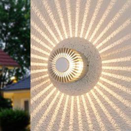 Alufarbene Außenwandleuchte Lennias mit LED