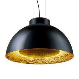 Schwarze Hängeleuchte Globus mit Blattgold