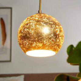 Glas-Hängelampe Vanity in besonderer Optik, gold