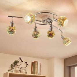 6-flammige LED-Deckenlampe Isumi, Glas Firework