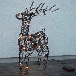 Braune Rattanoptik - LED-Außendeko Deer, Batterie