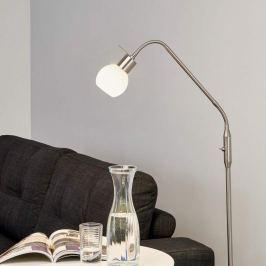 Schmale LED-Stehleuchte Elaina, nickel matt