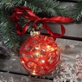 Glaskugel Ariela mit rotem Dekor und LED