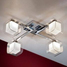Cube - LED-Deckenleuchte mit vier Doppelschirmen