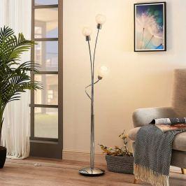 Dreiflammige LED-Stehleuchte Matthea, weißes Glas