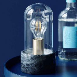 Edle Marmor-Tischleuchte Siv mit Glaskuppel, schw.