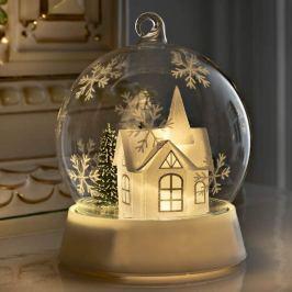 Stimmungsvolle LED-Glaskugel mit Haus