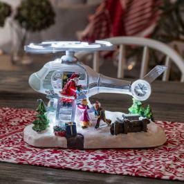 Schöne LED-Szenerie Helikopter m. Weihnachtsmann